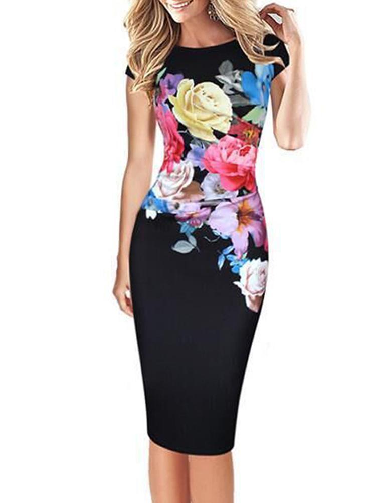 Elegante impressão floral bodycon manga curta mulheres vestido de meia-idade
