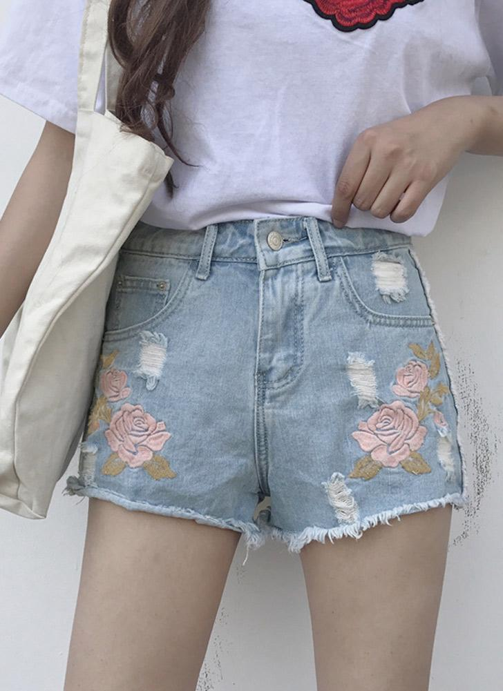 Women Embroidered Denim  Ripped High Waist Shorts