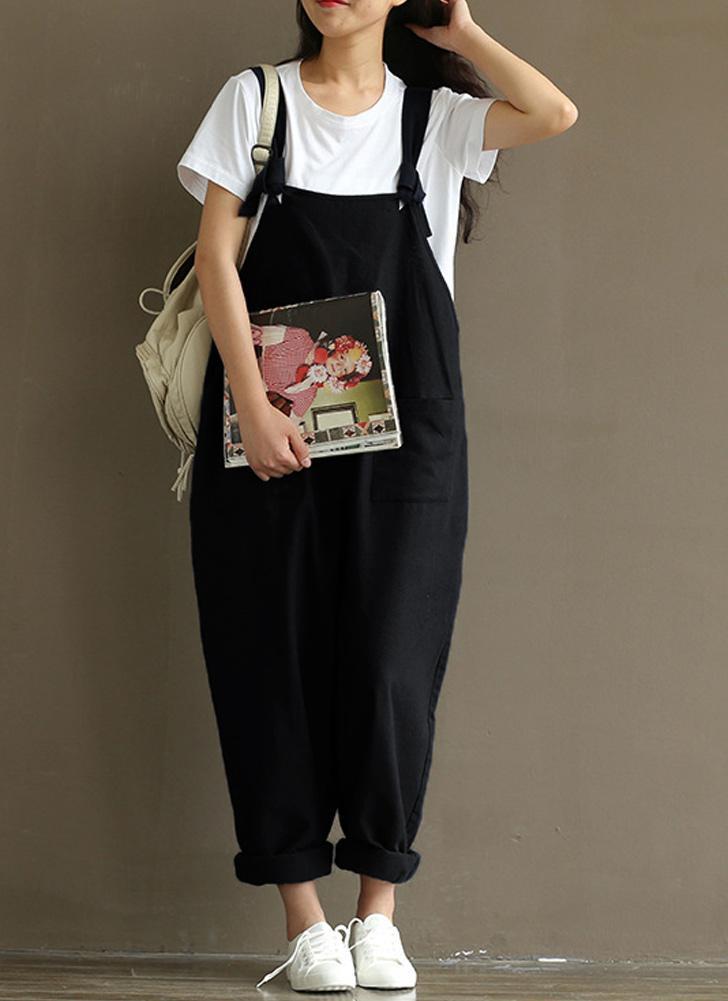 Frauen lose Overall Overalls feste ärmellose Taschen breite Beine Latzhose Playsuit Strampler