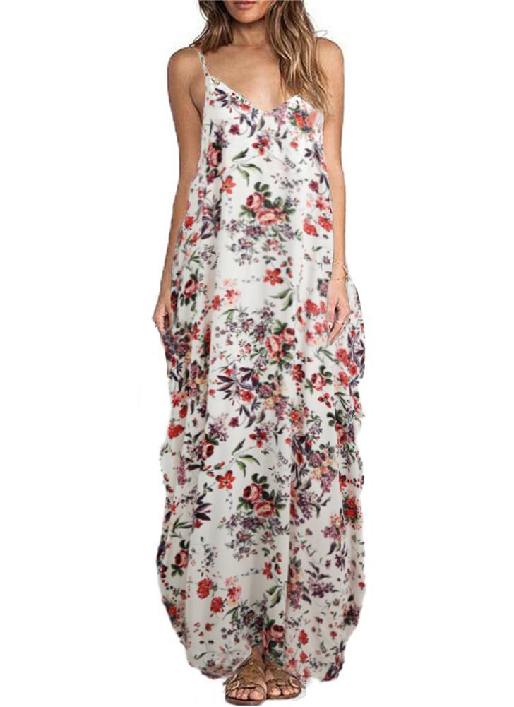 Vestito di formato più sexy della Boemia delle cinghie di spaghetti della  stampa floreale sexy 7ccdca9cf14