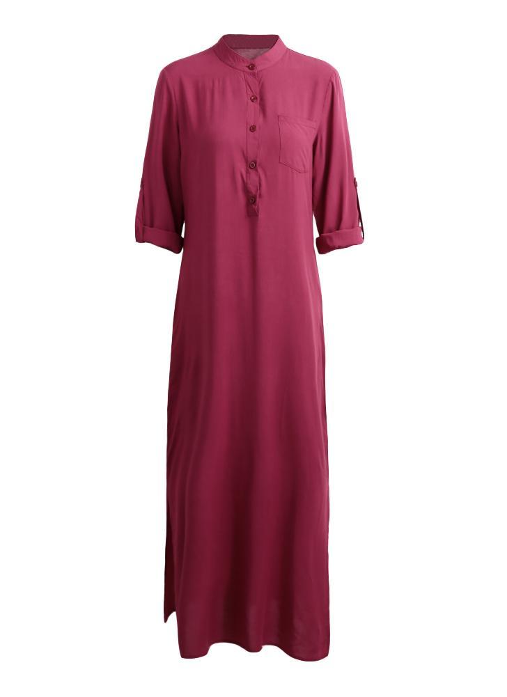 Vestito maxi delle donne solide eleganti del retro del rivestimento del  manicotto delle donne eleganti d64a6a633af