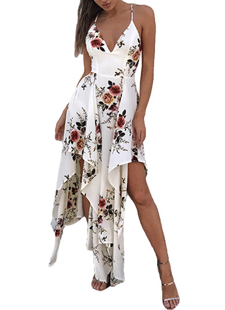 Vestito da donna sexy Bohemian asimmetrico di stampa floreale profonda del  collo V del collo 99fb8a03021