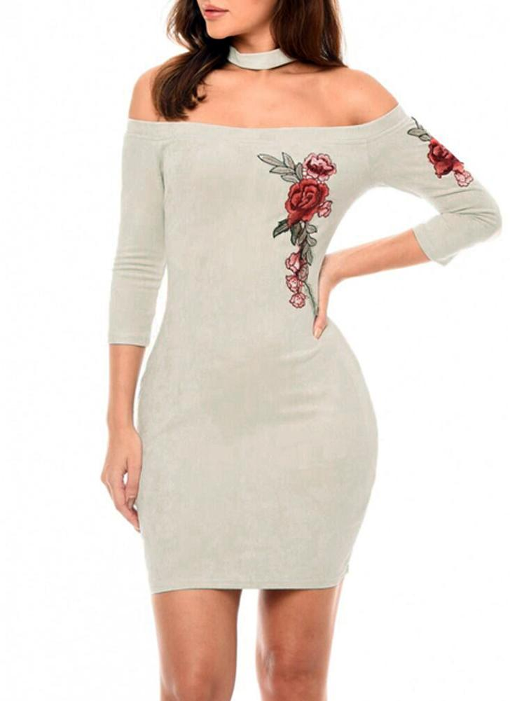 Сексуальная цветочная вышивка на плече Элегантное женское платье Bodycon