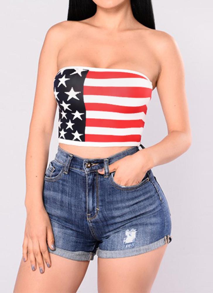 Pantalon sexy à bretelles Bustier American Flag Print Bandeau Camisole Women's Crop Top