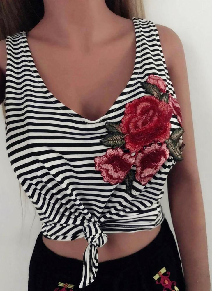 Sexy Stripe Print Floral Embroidery Deep V Neck Sleeveless Women's Tank Top