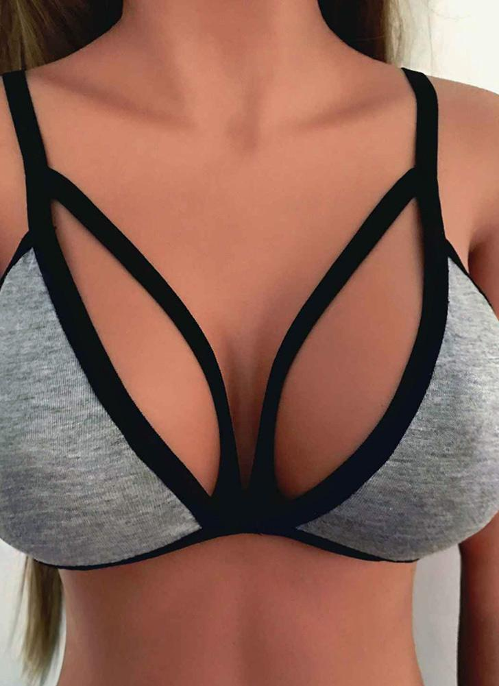 Sexy Braccialetto Strappy Plunging V Neck Collo Solido Bralette Donna