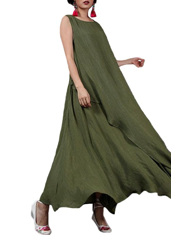 Été sans manches O Neck Long Maxi Linge Loose Plus Size Women's Dress