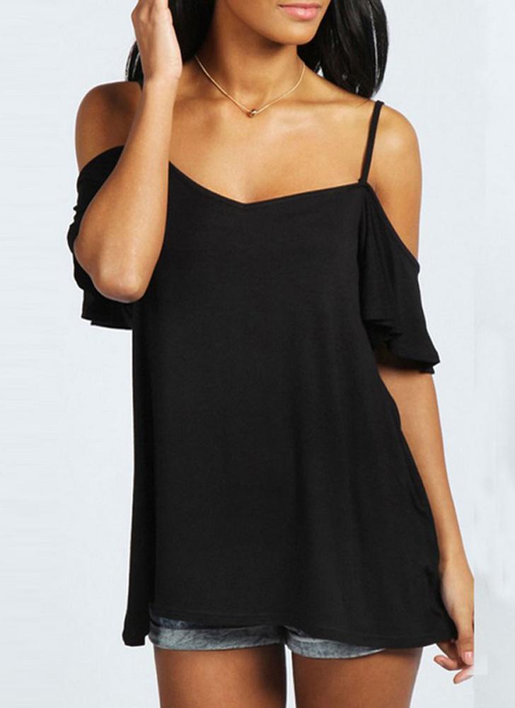 Summer Off Shoulder T-shirt décontracté pour femmes à manches courtes à manches longues