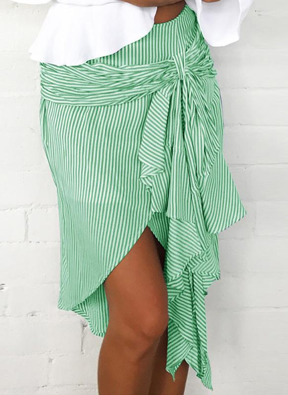 Fashion Striped Asymmetrical Ruffles Bandage Hight Taille de la jupe pour femme