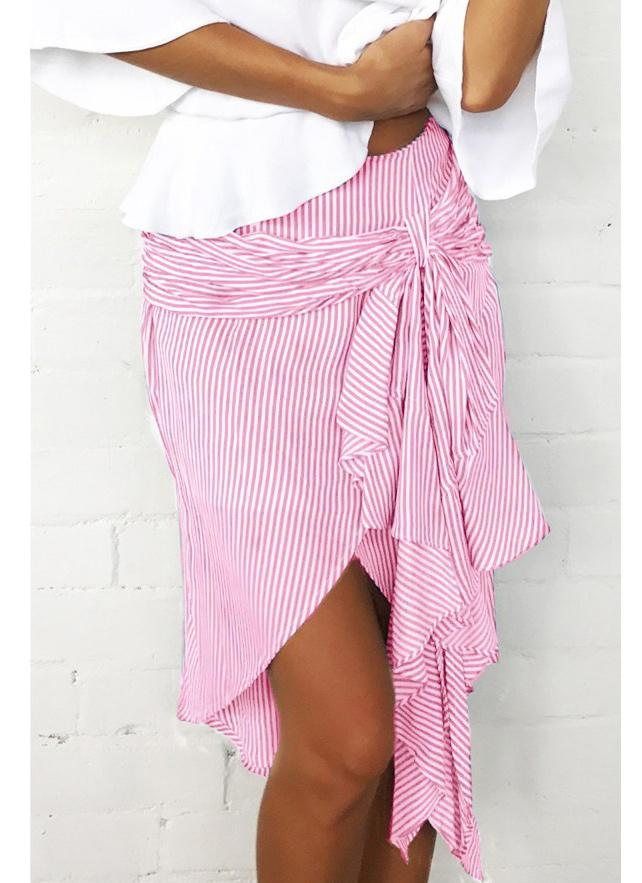 Fashion Striped Asymmetrical Ruffles Bandage Hight Waist Women's Skirt