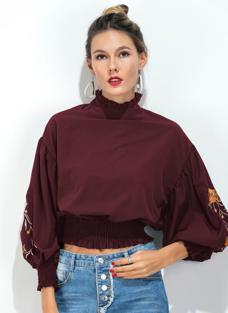 5617678099bba0 Vintage Women Smocked Blouse Floral Embroidery High Neck Drop Shoulder Puff  Sleeve Elegant Tops