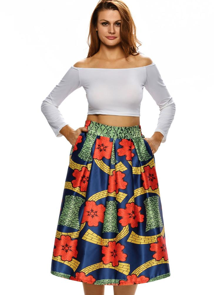 Sexy Pleate Vintage Floral Print High Waist A-Line Midi  Women's Skirt