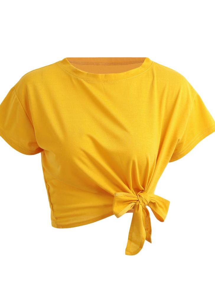 Summer Solid Tie Front O-Neck Short Sleeve Bow Women's Crop Top