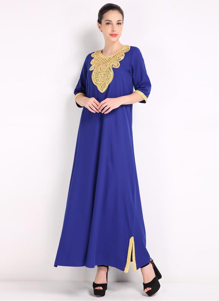l azul Vestido musulmán islámico árabe islámico de la manera de las ...