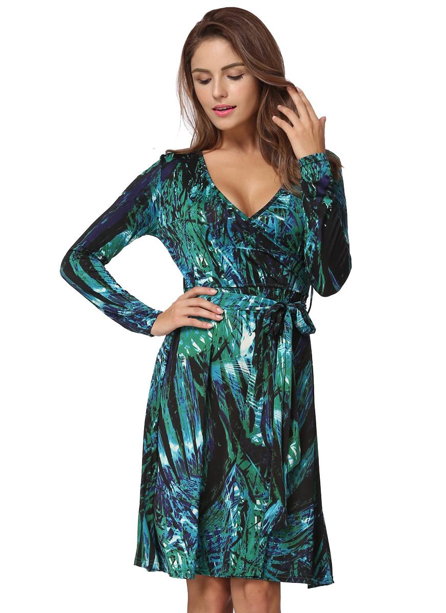 Sexy V Seck Leaf Печать с длинным рукавом Листья Slim Belted Women's Mini Dress