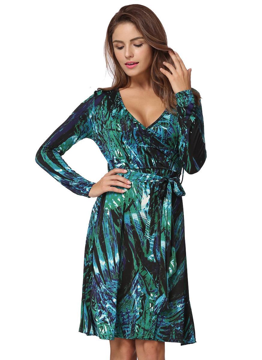 Sexy V Neck Leaf Print Long Sleeve Folder Slim Belted Women's Mini Dress