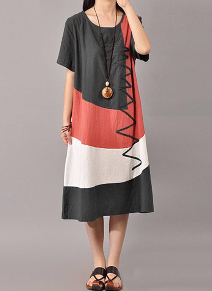 Vestito delle donne allentate delle maniche corte del cotone O del collo  dell annata d39580b9767