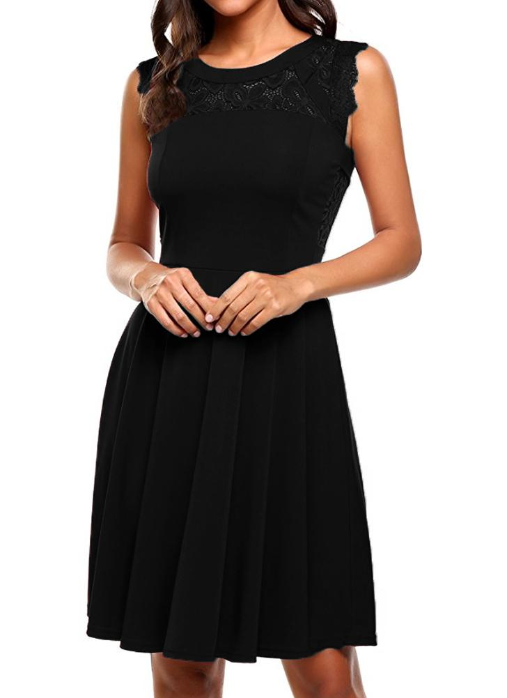 Manta sem mangas em pedaço em torno do pescoço A-Lined Cocktail Women's Lace Dress
