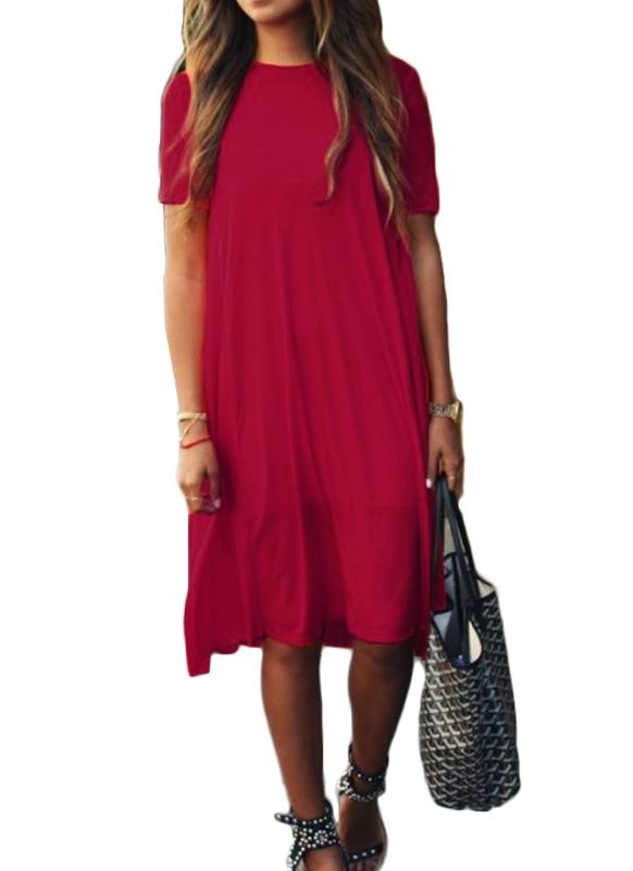 Fashion Solid A-Line Dress Round Neck Short Sleeves Women's Casual Dress