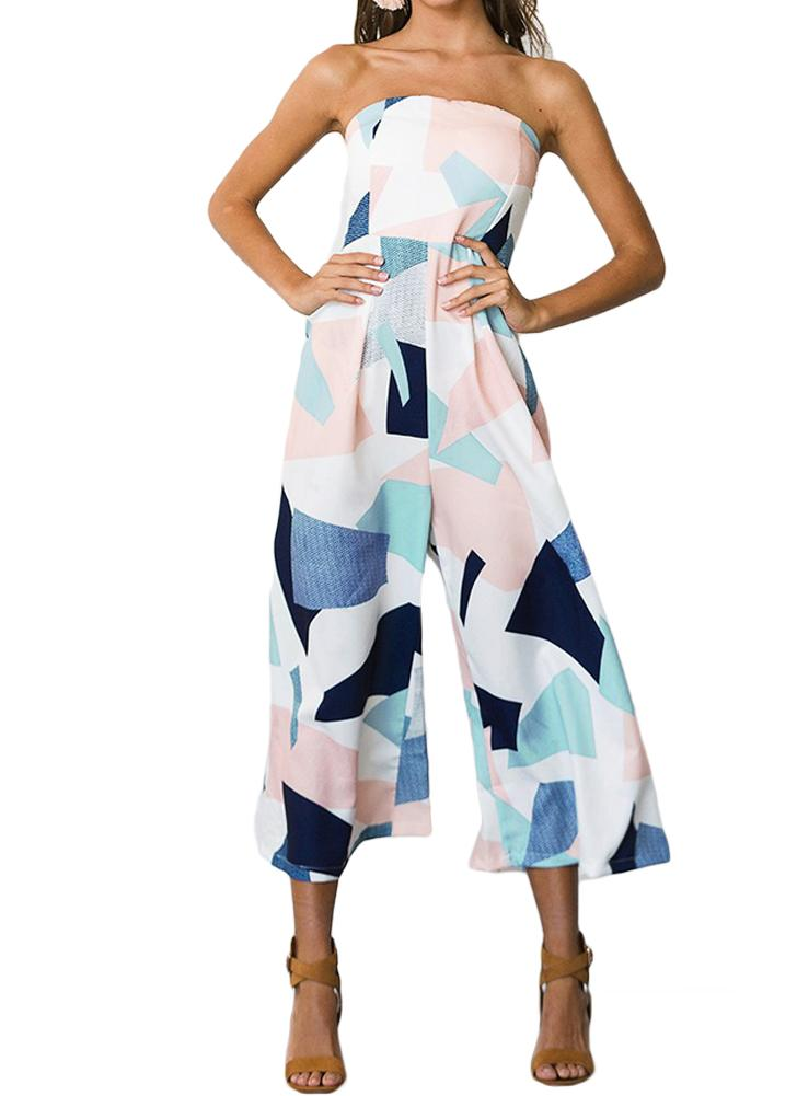 Summer Strapless Geometric Print Pants Sleeveless Women's Rompers