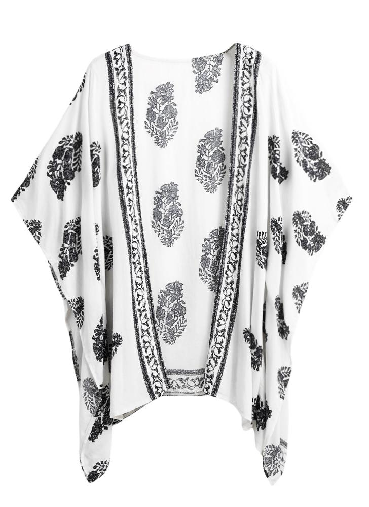 Summer Bikini Cover Up Floral Beach Robe Kimono Femme