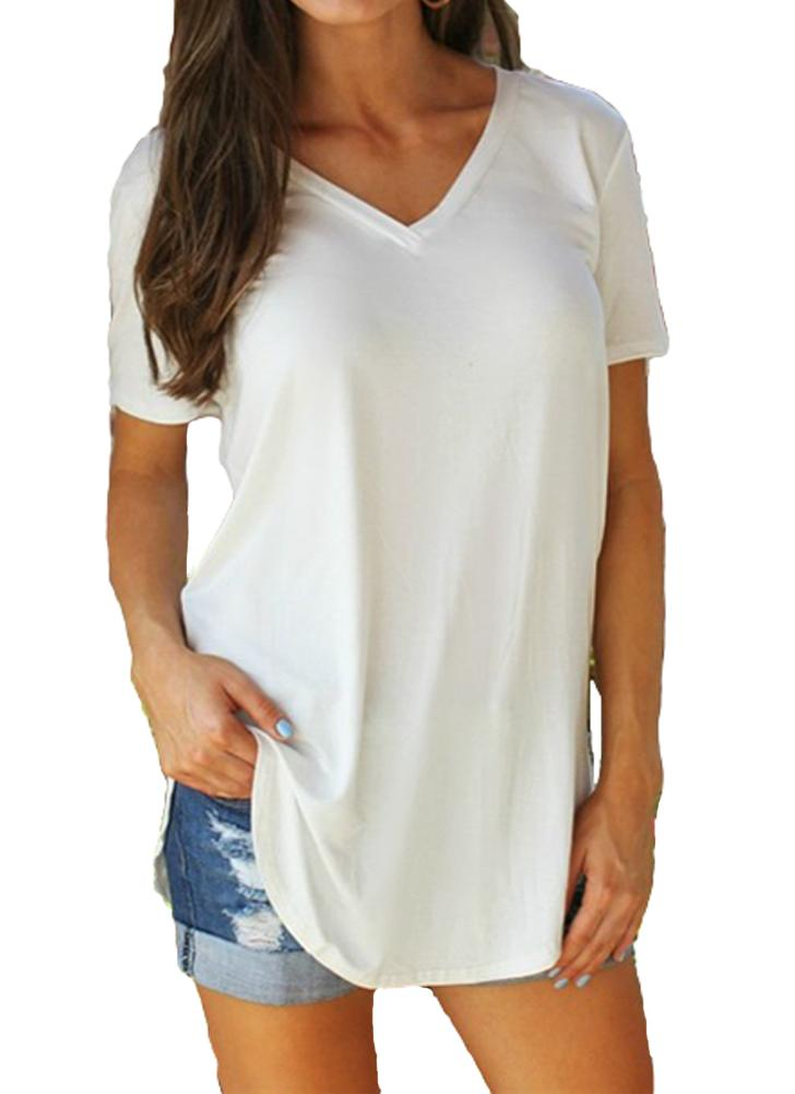 Fashion Solid Color V Neck Short Sleeve Rounded Hem Women's Casual T-shirt