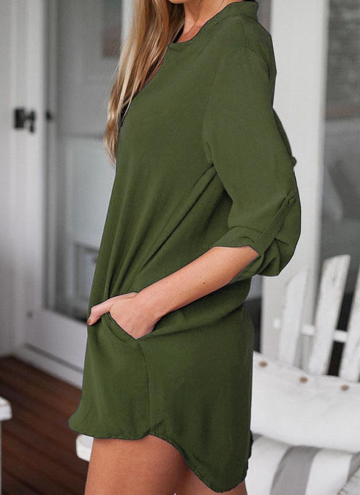 Chiffon V Neck Bolsos Roll up Asymmetrical vestido de blusa de tamanho grande tamanho feminino