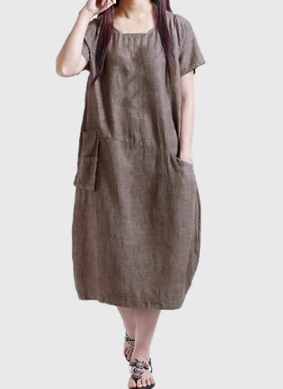 Vintage Solid Color Short Sleeve Pocket Summer Women's Plus Size Dress