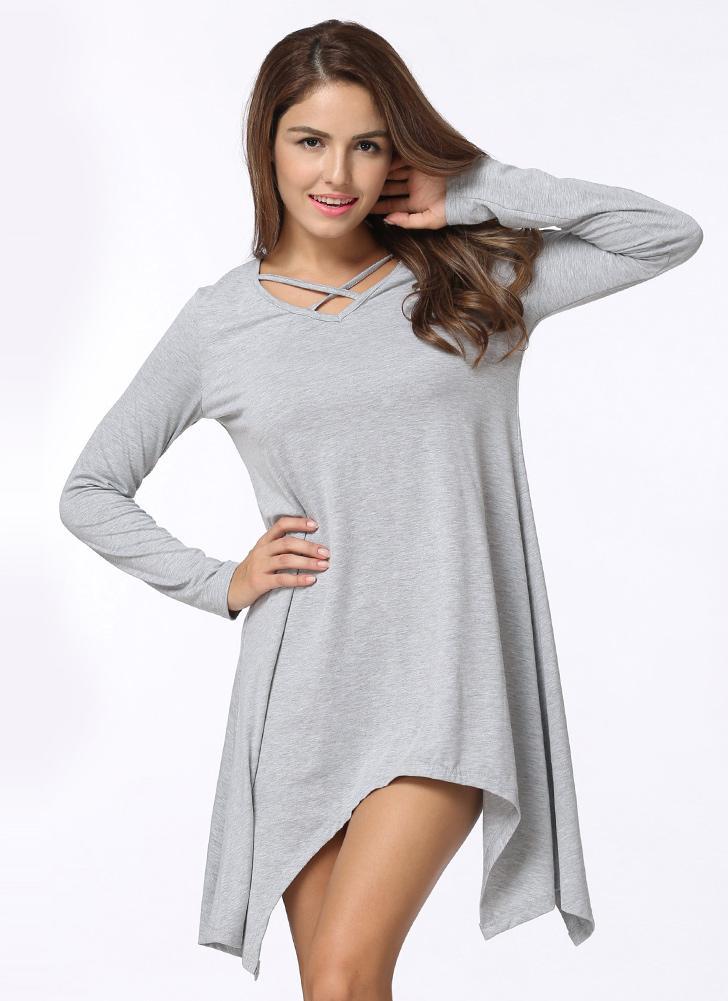 d517cf0634fc Asymmetrisches Criss Cross V-Ausschnitt Langes Hülsen Casual Frauen T-Shirt  Kleid