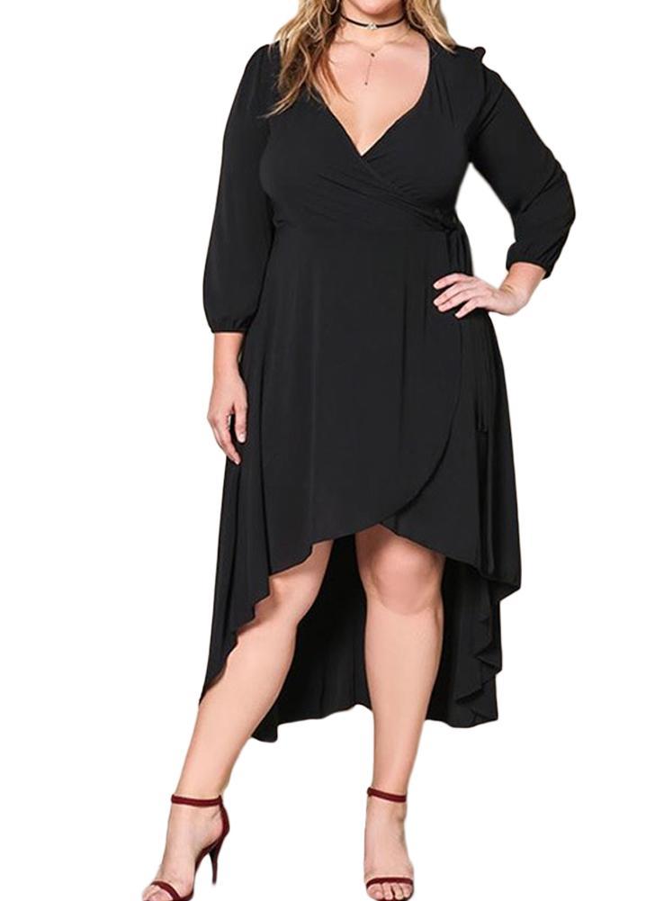 Mulheres Com V-pescoço Plus Size Sexy Long Sleeves A-Line Dress