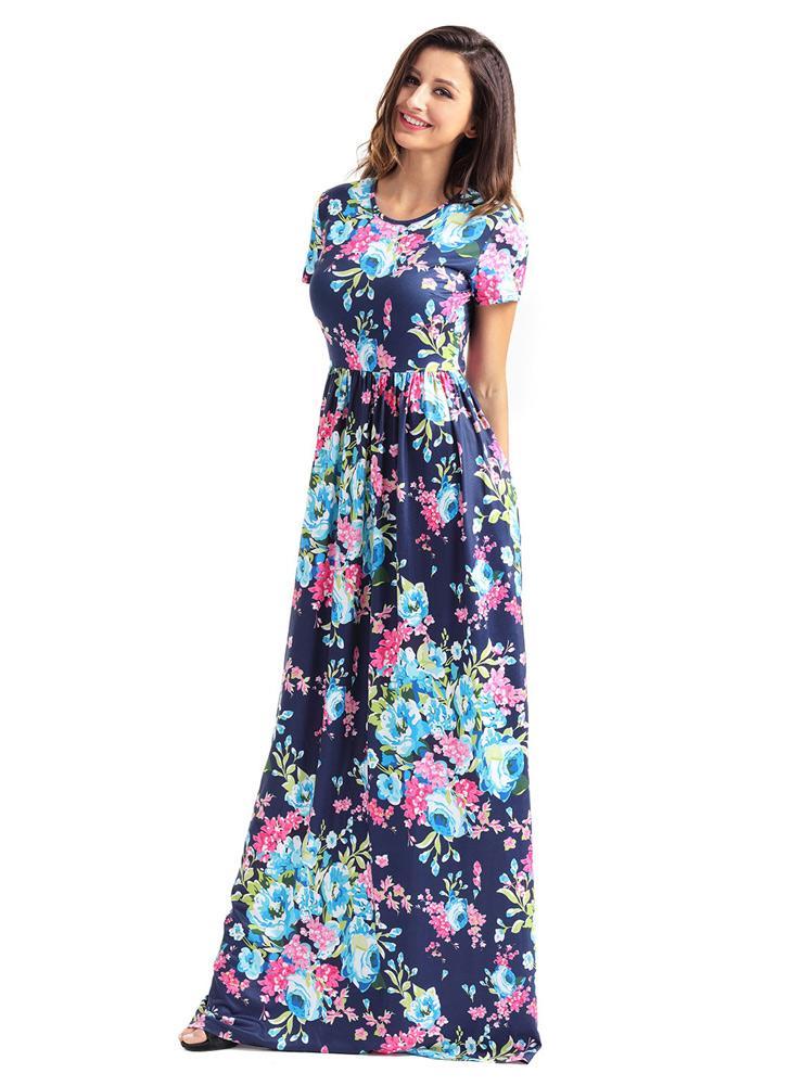 d3b62aa11438 Weinlese-böhmisches Blumenblumen-Druck-Taschen-Entwurfs-Frauen-Maxi Kleid