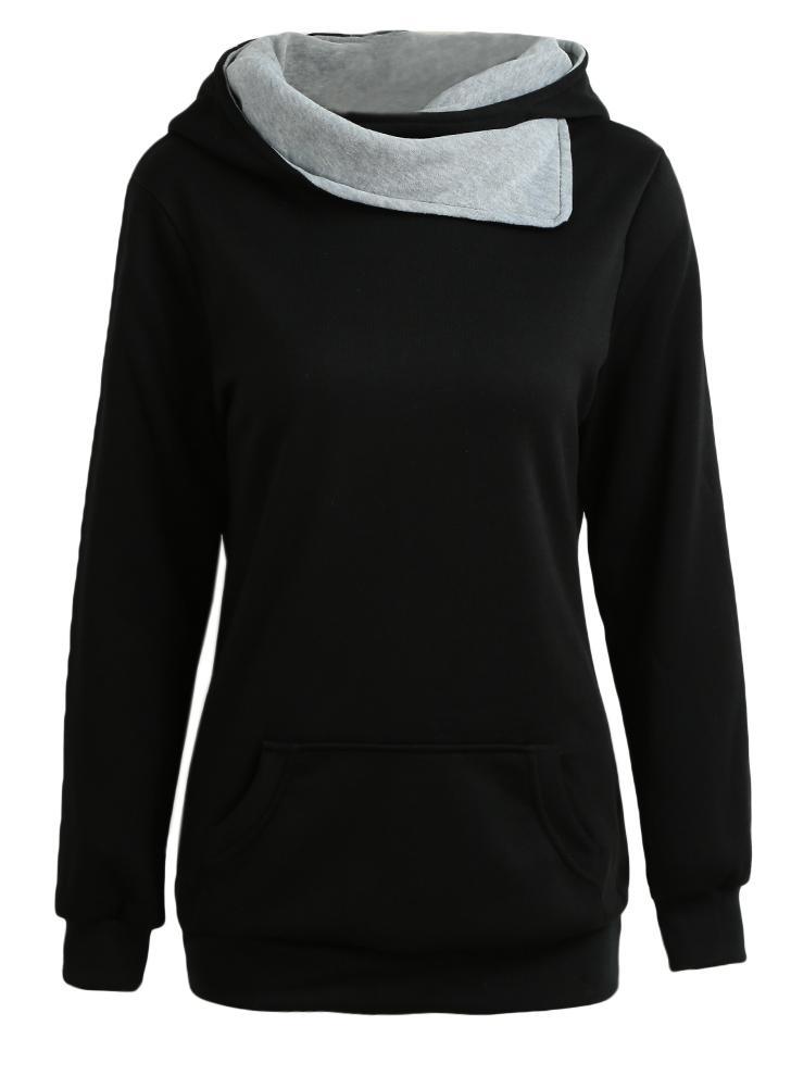 Herbst-Winter-beiläufige feste Sweatshirt-Taschen-lange Hülsen-Frauen-Kapuzenpullis