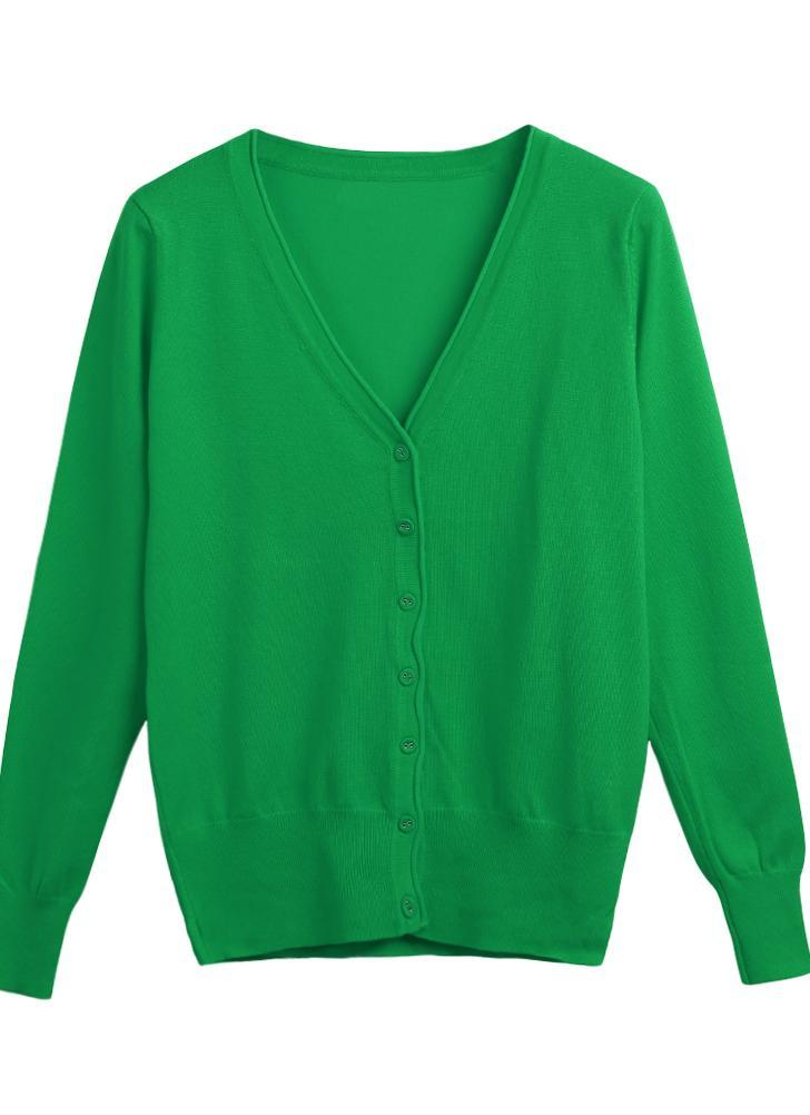 Fashion Cardigan V-Neck Long Sleeve Female Casual  Women's Knitwear