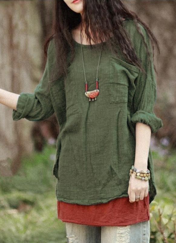 Vintage Loose Cotton Casual Long Sleeve Ethnic  Women's Blouse