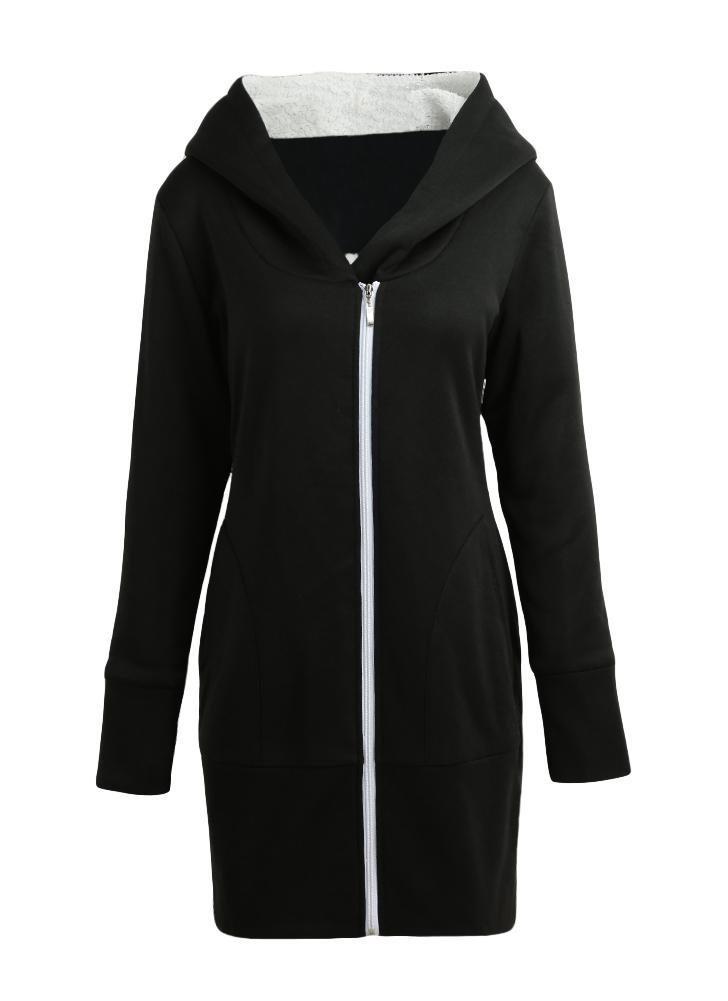 Sweat-shirt à capuche en molleton zippé pour femme