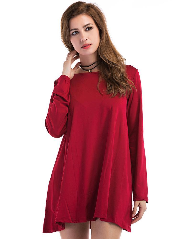 Vestito da donna casuale delle maniche lunghe rotonde del collo di modo edabad8813c