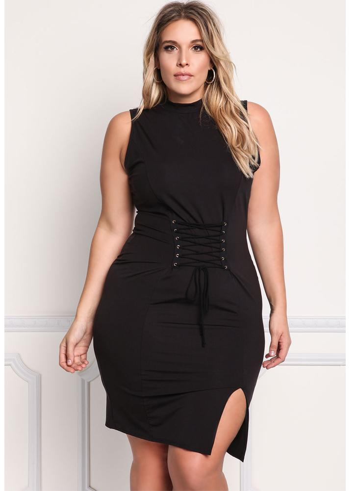xxxl noir Sexy Lace Up Bandage Sleeveless Bodycon Party Robe taille ... a062a2cee4b