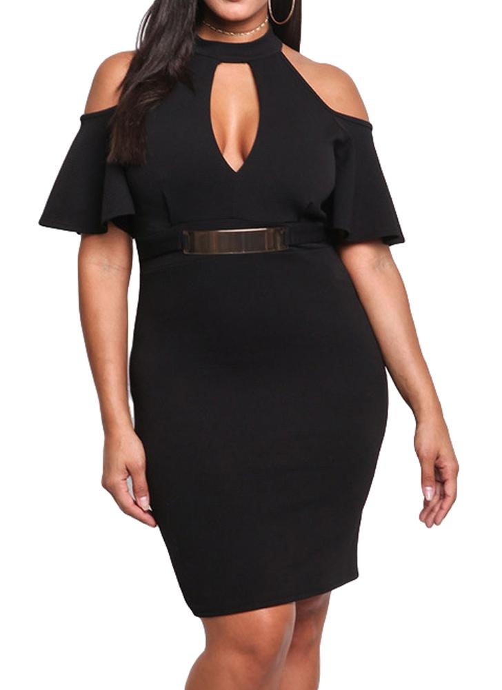 Sexy Off Shoulder Cut Out Chocker Bodycon Womens Plus Size Dress