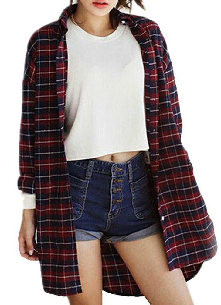 Blusa casual floja de las mujeres del botón de la tela escocesa del dobladillo de la blusa