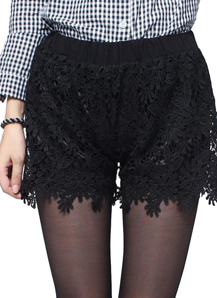 Women Lace Shorts Floral Crochet Lace Elastic High Waist  Hot Pants