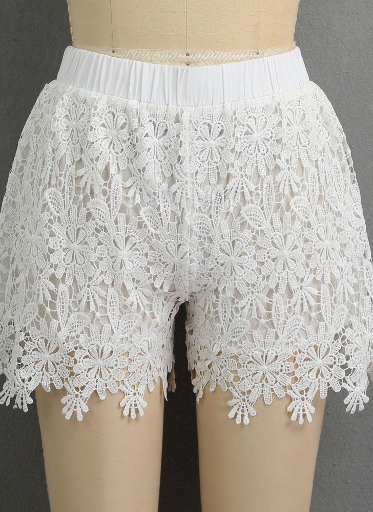 Pantalones cortos de encaje de las mujeres pantalones de ganchillo floral de cintura elástica de cintura alta