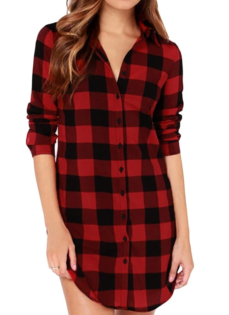 Women  Irregular Plus Size Casual Check Tunic Long Blouse