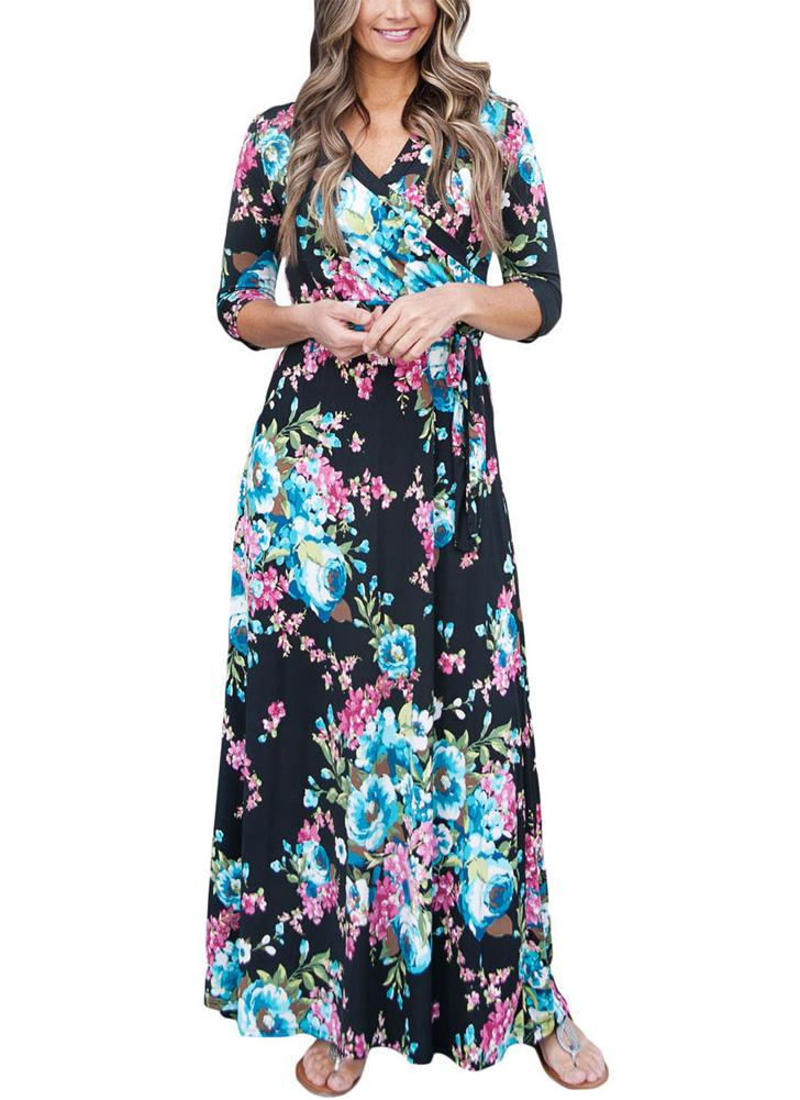 Boho Floral Print Deep V Neck Cropped Sleeve Slim Belted Women's Long Dress