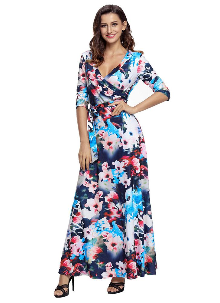 Boho stampa floreale profonda V collo manica corta sottile vestito lungo  delle donne con cintura a5ceeebe0c6