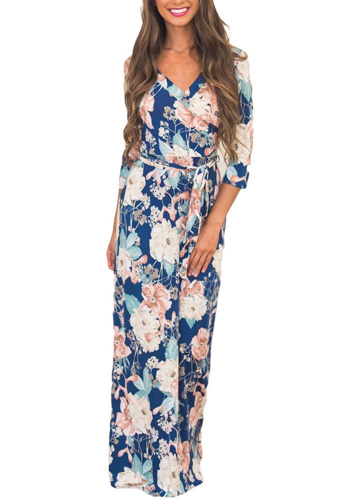 f07ae2e705a Boho Floral Print Deep V Neck Cropped Sleeve Slim Belted Women s ...