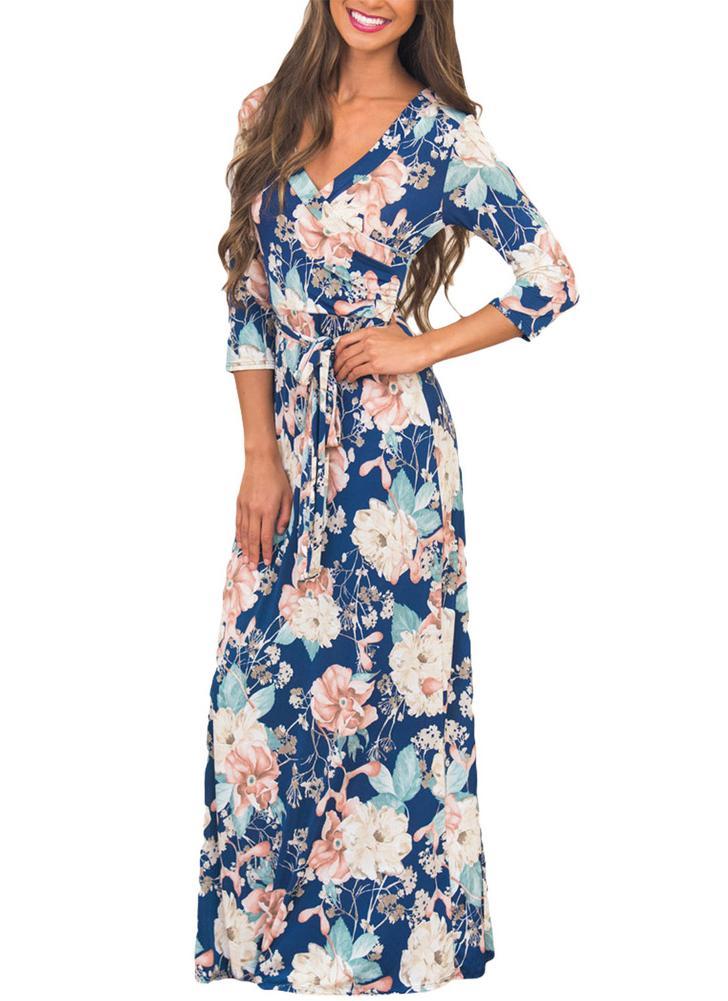 Boho stampa floreale profonda V collo manica corta sottile vestito lungo  delle donne con cintura 1705e27393f