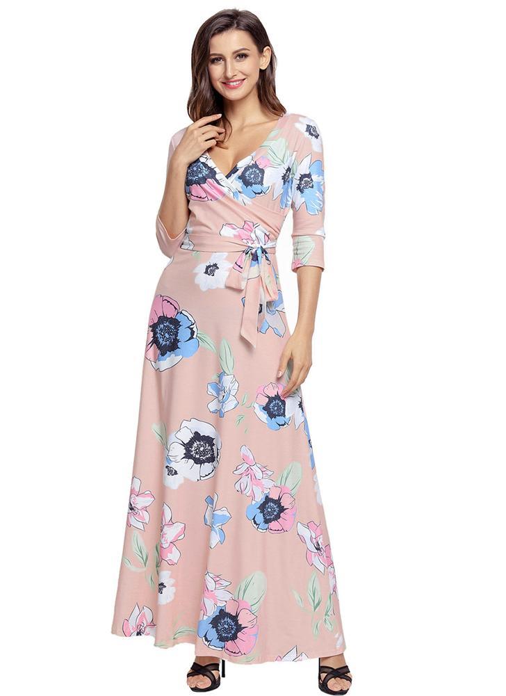 Boho Floral Print Deep V Neck Ausschnitt Ärmel Schlank Gürtel Frauen Langes Kleid