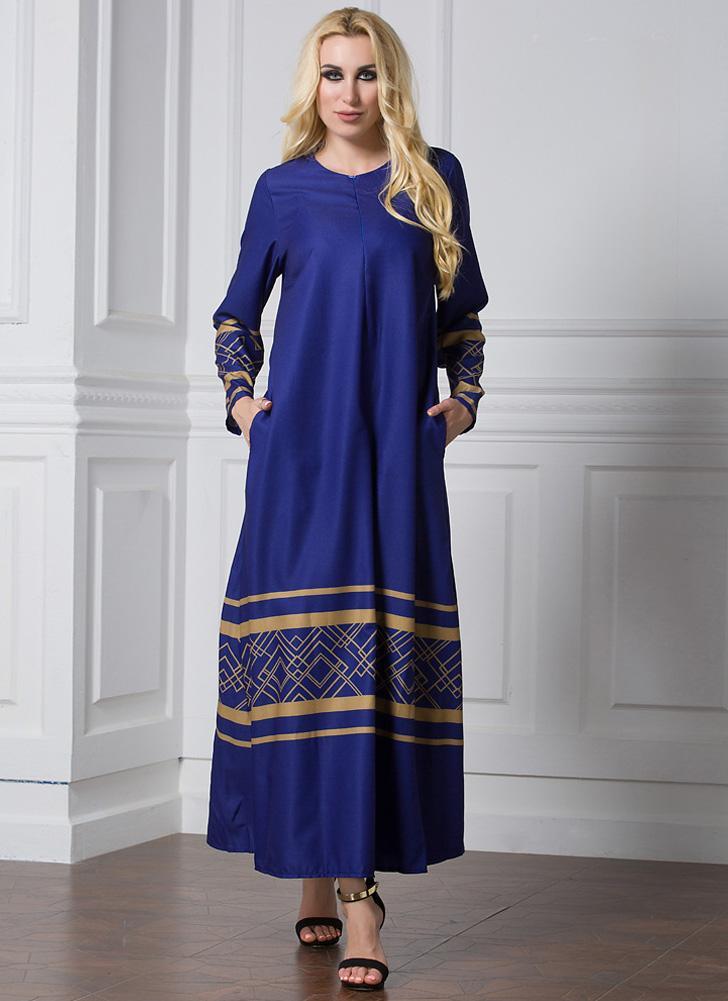 Fashion Plus Size Geometric Print Long Sleeve Women s Muslim Dress 75f06297fa5d