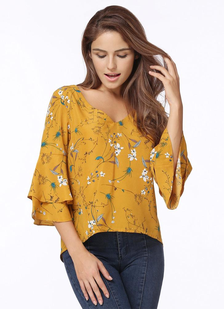 Chiffon Floral Print V Neck Flare Sleeve Casual Loose Women's Blouse