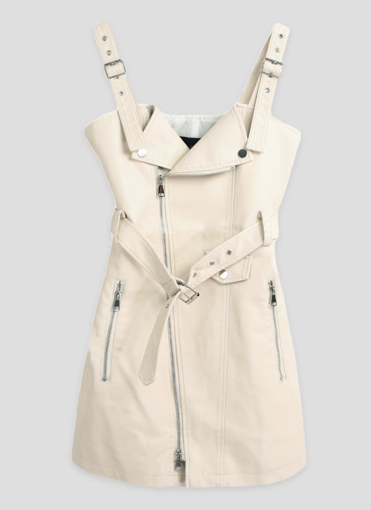 Сексуальная кожа PU плечо Backless пояс молнии женщин клуб платье